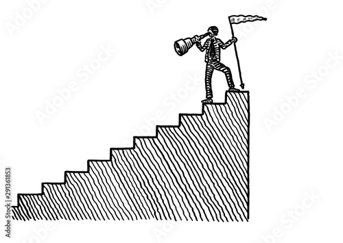 Drawn Man Atop Stairs Looking Back Via Spyglass Canvas Print