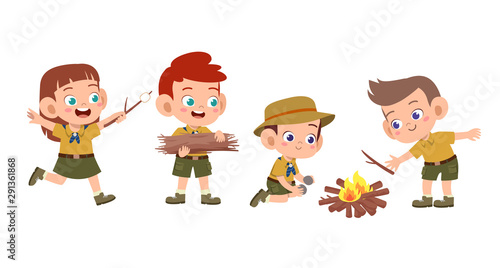 Obraz happy cute kids summer camp holiday set - fototapety do salonu