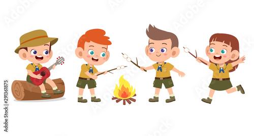 Pinturas sobre lienzo  happy cute kids summer camp holiday set