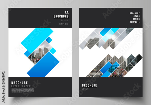 Photo sur Toile Oiseaux sur arbre The vector layout of A4 format modern cover mockups design templates for brochure, magazine, flyer, booklet, annual report. Abstract geometric pattern creative modern blue background with rectangles.