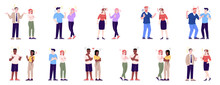 People Behavior Flat Vector Illustrations Set. Couples Quarrel, Sympathize, Argue, Make Friends. Men And Women Relationship Isolated Cartoon Characters With Outline Elements On White Background