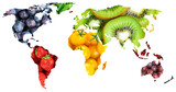 Fruits and vegetables. World map. Fresh food