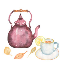 Watercolor Hand Drawn Teacup W...
