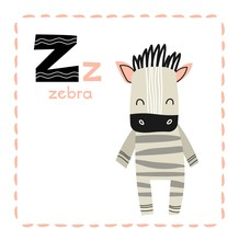 Alphabet Letter Z For Zebra For Kids With Upper And Lower Case Letters, Alongside An Adorable Striped Zebra In An Educational Vector For Teaching Children To Read And Spell