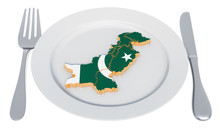 Pakistani Cuisine Concept. Plate With Map Of Pakistan. 3D Rendering