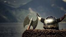 Viking Helmet On Fjord Shore, Norway