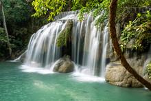 Erawan Water Fall (Second Floor), Tropical Rainforest At Srinakarin Dam, Kanchanaburi, Thailand.Erawan Water Fall Is  Beautiful Waterfall In Thailand. Unseen Thailand - Image