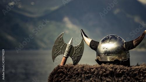 Viking helmet on fjord shore, Norway Wallpaper Mural