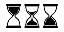 Set Of Sand Clock. Vector Icons On White Background.