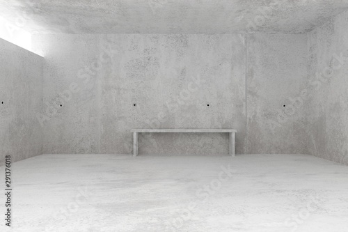 Abstract empty, modern concrete room with light from window and concrete bench at the backwall - industrial interior background template, 3D illustration - 291376018