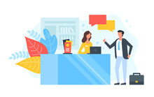 Reception. People Talking In Hotel Lobby Or At The Information Desk. Customer Service, Receptionist, Client Assistance, Help, Check-in Concepts. Modern Flat Design. Vector Illustration