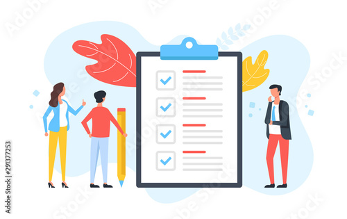 Fototapeta Checklist. Group of people and clipboard with check list and checkmarks. Business plan, marketing strategy, survey, complete tasks, teamwork success concepts. Modern flat design. Vector illustration obraz