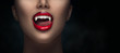 Leinwanddruck Bild - Sexy Vampire Woman's red bloody lips close-up. Vampire girl licking fangs with tongue. Fashion Glamour Halloween art design. Close up of female vampire mouth, teeth. Isolated on black background