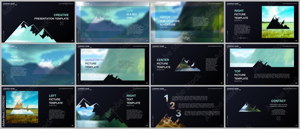 Fototapeta Presentations design, vector templates. Background for tourist camp, nature tourism, camping. Aadventure design concept. Multipurpose template for presentation slide, flyer leaflet, brochure cover.