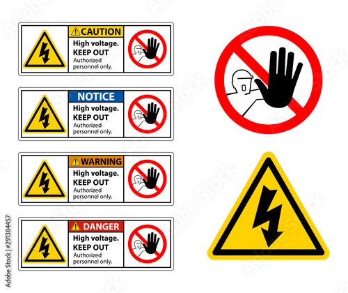 Caution High Voltage Keep Out Sign Isolate On White Background,Vector Illustration Wall mural