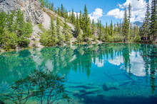 Beautiful Grassi Lakes Outside Canmore In Kananaskis Country. Grassi Lakes Is A Very Easy And Popular Hike For Families And Nature Lovers.