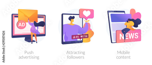 Photo Social media blogger earnings icons set