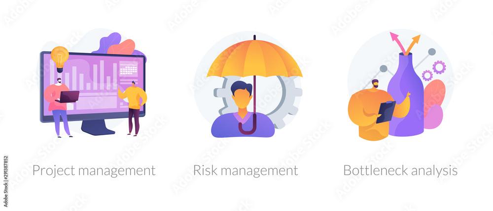 Fototapeta Business setting strategy icons set. Risks assessment, market niche search. Project management, risk management, bottleneck analysis metaphors. Vector isolated concept metaphor illustrations.
