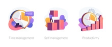 Performance Increase Ways Icons Set. Motivation And Self Discipline, Goal Achievement. Time Management, Self Management, Productivity Metaphors. Vector Isolated Concept Metaphor Illustrations.