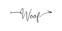 Woof Writing With Arrow Hand D...