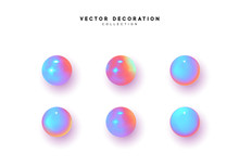 Set 3d Object Round Sphere, Ball With Gradient Holographic Color Of Hologram. Vector Illustration