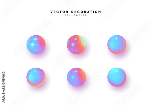Valokuva Set 3d object round sphere, ball with gradient holographic color of hologram