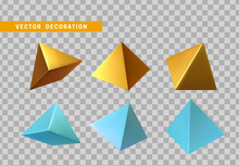 Golden And Blue Pyramid Volumetric. Set 3d Geometric Shapes Objects. Realistic Geometry Elements. Render Decorative Figure For Design. Vector Illustration