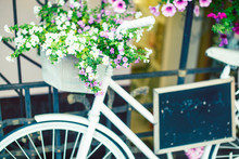 Flower In Basket Of Vintage Bi...