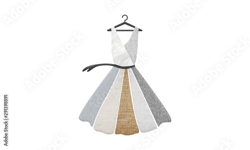 Illustration of dress made up of sustainable textiles, wool, silk, organic cotton, linen and hemp Canvas Print