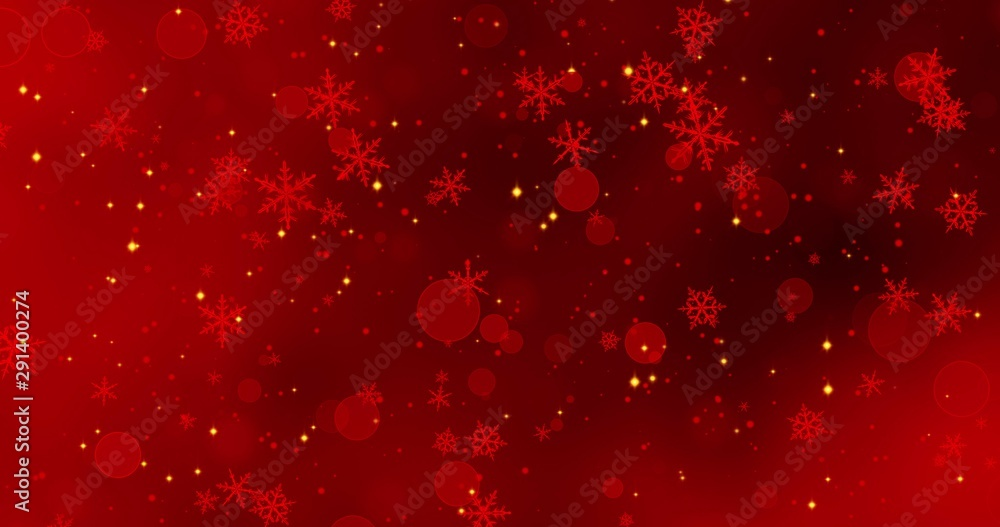 Fototapety, obrazy: Red snowflakes and bokeh lights on the red Merry Christmas background. 3D render