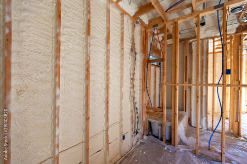 Obraz Spray Foam insulation in new home construction - fototapety do salonu
