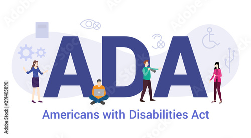 ada americans with disabilities act concept with big word or text and team peopl Canvas Print