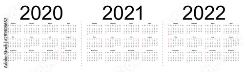 Simple editable vector calendars for year 2020 2021 2022. Week starts from Sunday. Isolated vector illustration on white background.