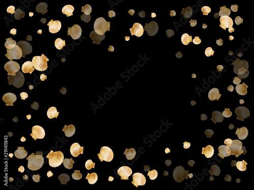 Fototapeta  Gold seashells vector, golden pearl bivalved mollusks.