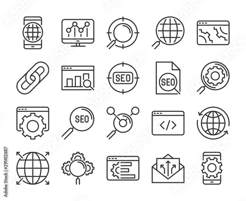 20 SEO icons Wallpaper Mural