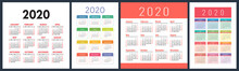Calendar 2020 Year Set. Vector...