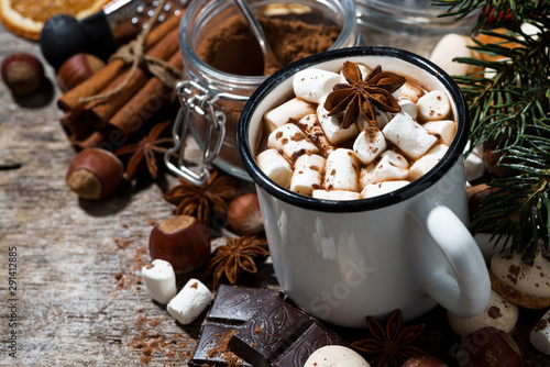Photo sur Aluminium Chocolat cup of hot chocolate with marshmallows and sweets on wooden background, closeup