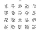 Fototapeta Dmuchawce - Spring flowers Well-crafted Pixel Perfect Vector Thin Line Icons 30 2x Grid for Web Graphics and Apps. Simple Minimal Pictogram