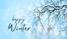 Happy Winter. Tree Branches In...