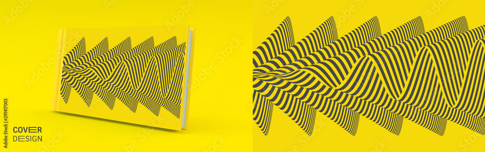 Fototapeta Cover design template. Black and yellow pattern with optical illusion. Applicable for placards, banners, book covers, brochures, planners or notebooks. 3d vector illustration.