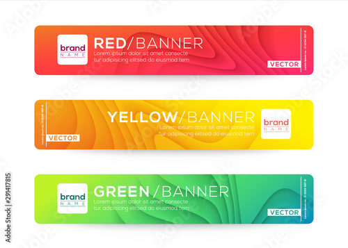 Fototapeta Abstract web banner or header design templates. Curved wave gradient background composition with colorful vivid colors. obraz