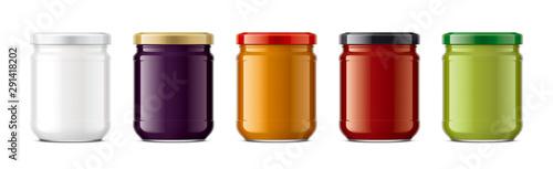 Fotomural  Set of Glass Jar Mockup.