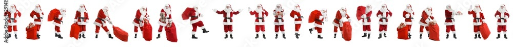 Fototapety, obrazy: Set of authentic Santa Claus on white background. Banner design