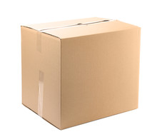 One Closed Cardboard Box On White Background