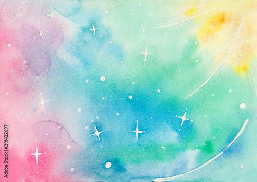 光り輝く宇宙のイメージ 水彩イラスト