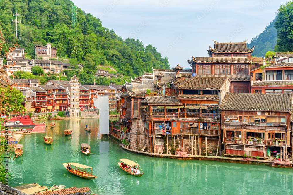 Fototapety, obrazy: Gorgeous view of wooden tourist boats on the Tuojiang River