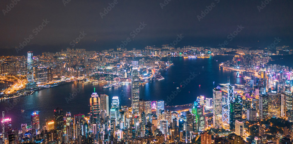 Fototapety, obrazy: Iconic view of Victoria Harbour, Center of Hong Kong cityscape at night