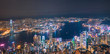 Iconic view of Victoria Harbour, Center of Hong Kong cityscape at night