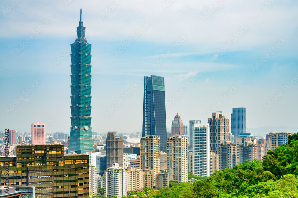 Fototapeta Gorgeous view of Taipei from top of mountain, Taiwan
