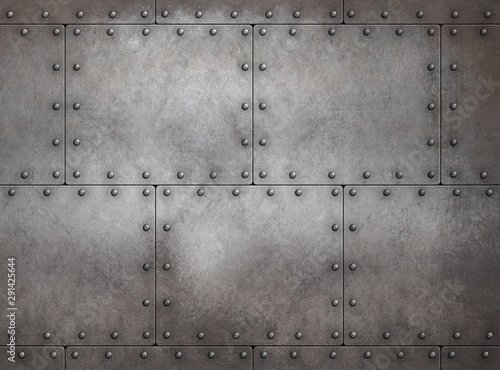 Fototapeta Rustic steampunk metal background 3d illustration
